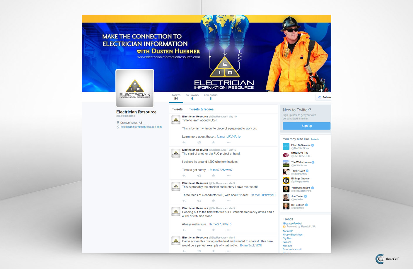 Electrician Information Resource - Twitter Social Media Design