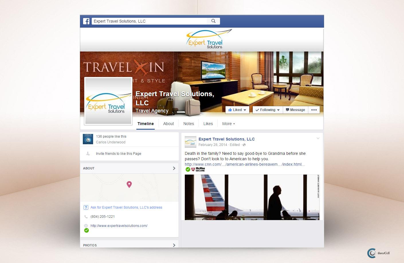 Expert Travel Solutions - Facebook Social Media Design