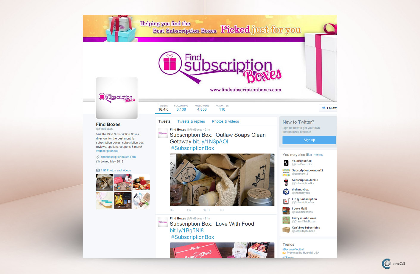 Find Subscription Boxes - Twitter Social Media Design