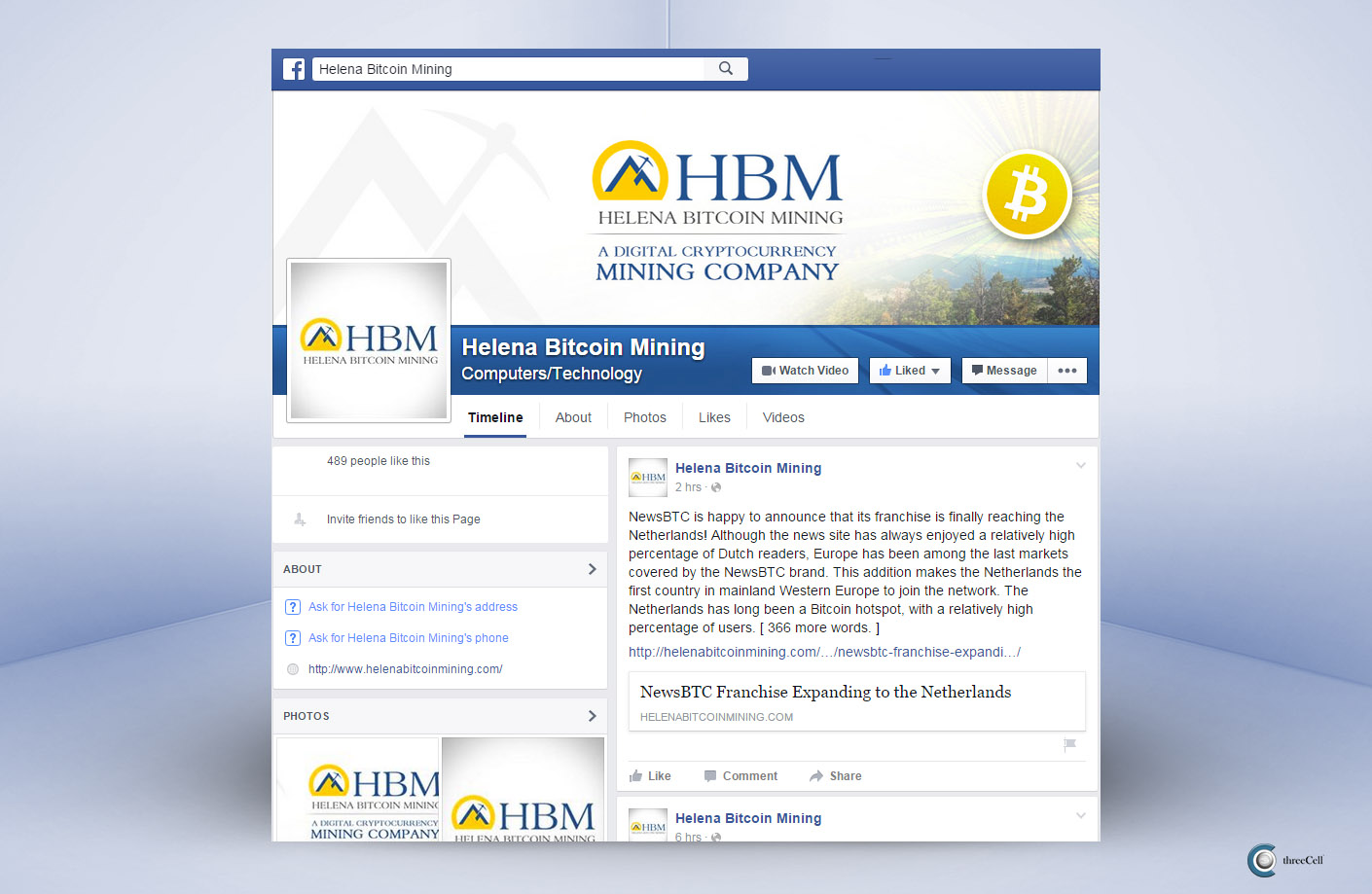 Helena Bitcoin Mining - Facebook Social Media Design