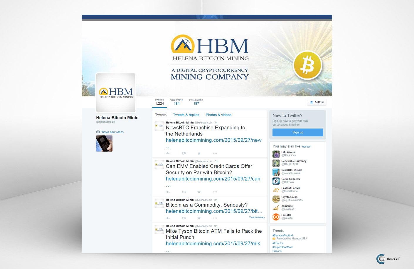 Helena Bitcoin Mining - Twitter Social Media Design